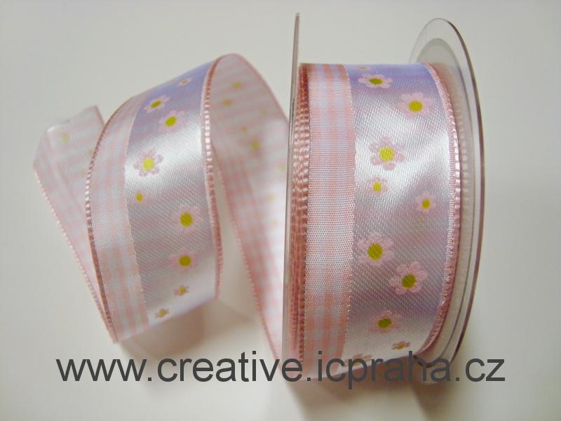 stuha-drátek-kytičky+kostky 40mm - růžová