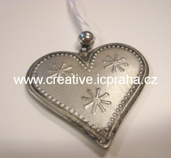 kov - srdce 6cm stříbrné, zlaté
