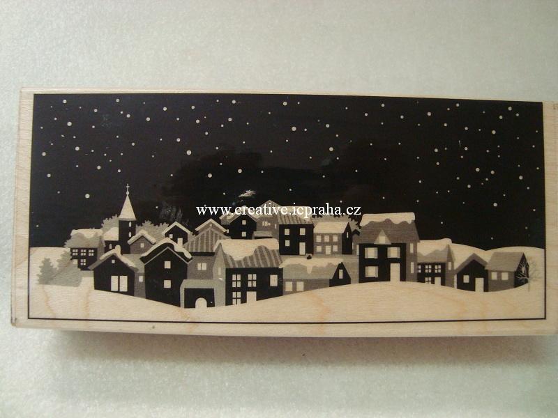 raz. dřevěné Hero Arts - Zimní město 12x5,5cm