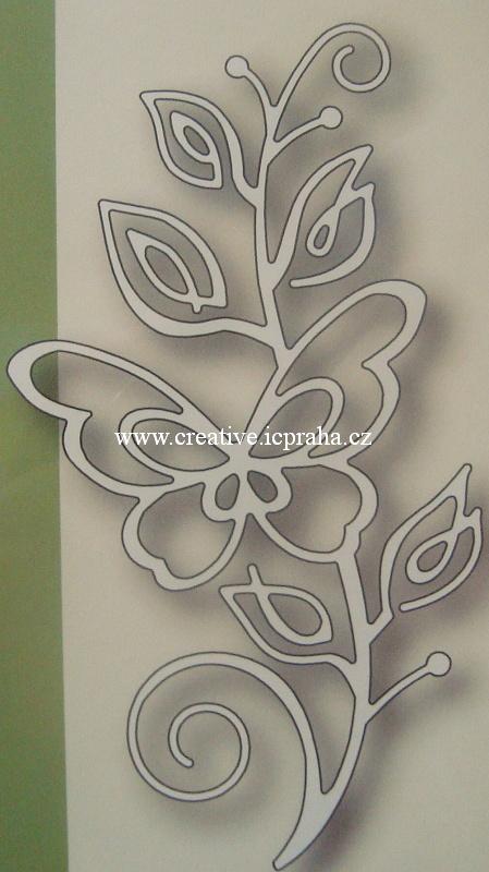 vyřezávací šablona  Poppy - Větvička a motýl 1391