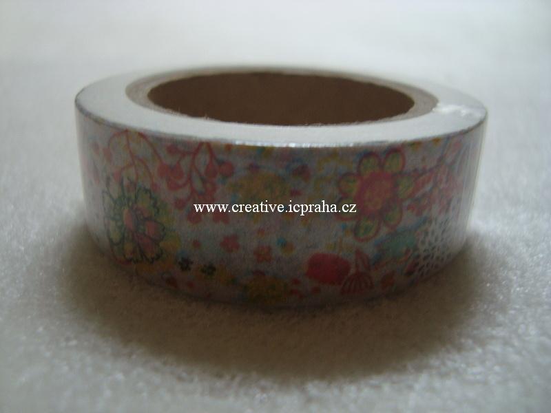 Washi páska - kytičky barevné 1,5cmx10m