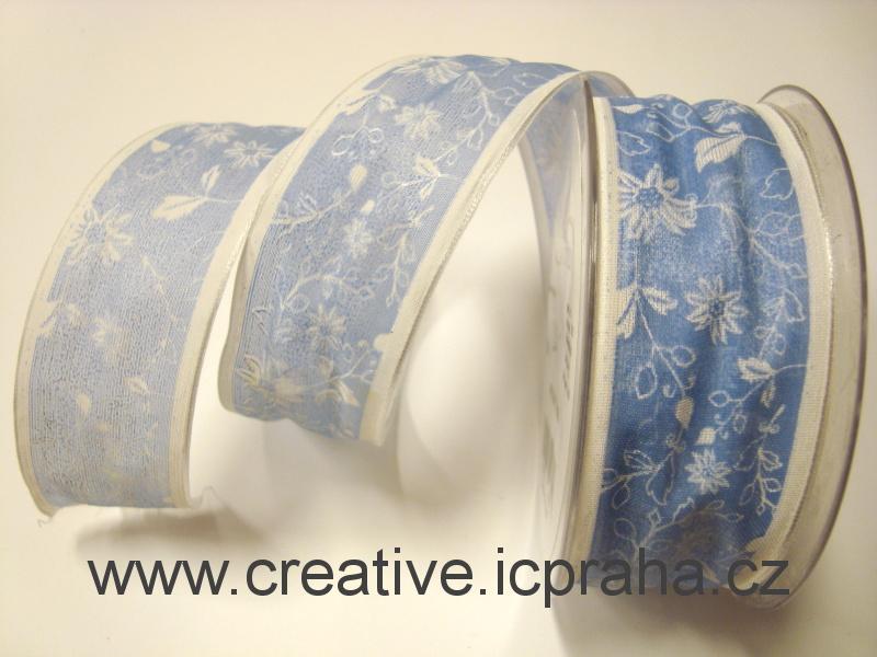 Stuha-drátek 40mm modrá sv., bílé kvítky