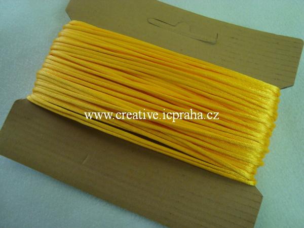 Saténová šňůrka kulatá 2mm - žlutooranžová