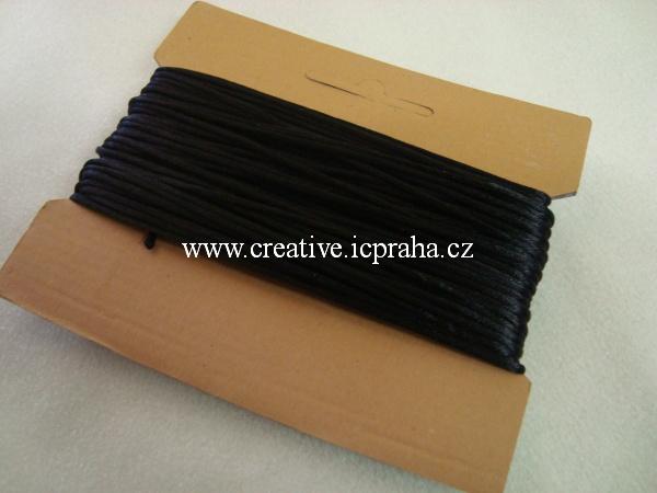 Saténová šňůrka kulatá 2mm - černá