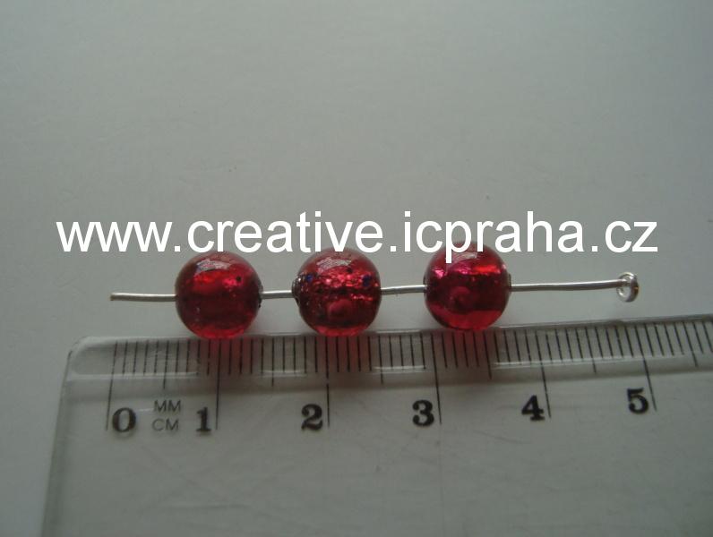 kulička červená/stříbro/kytka 19015 prům. 8mm