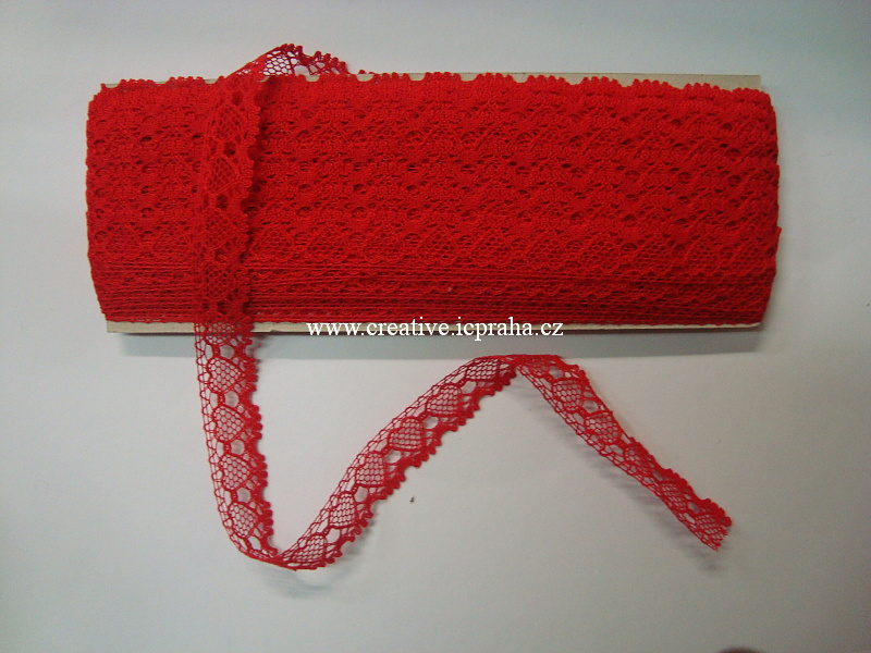 Stuha krajka palič. 19mm - červená 6013