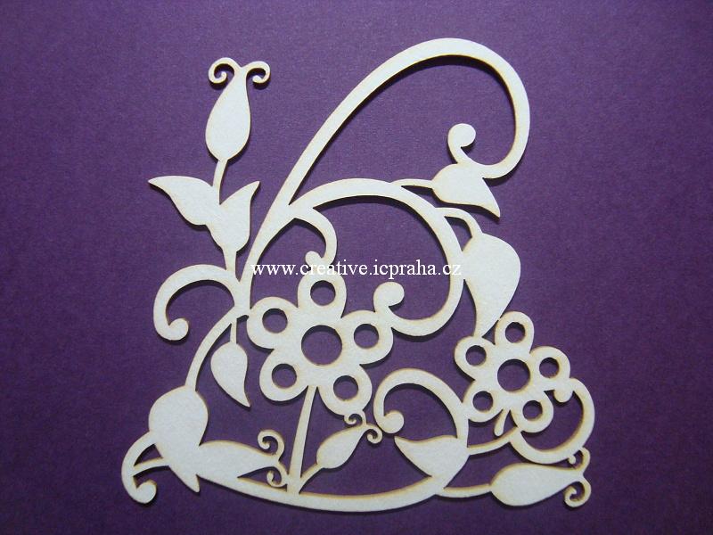 výřezy ornamenty/bordury srdce s růžemi 4ks 8x8cm