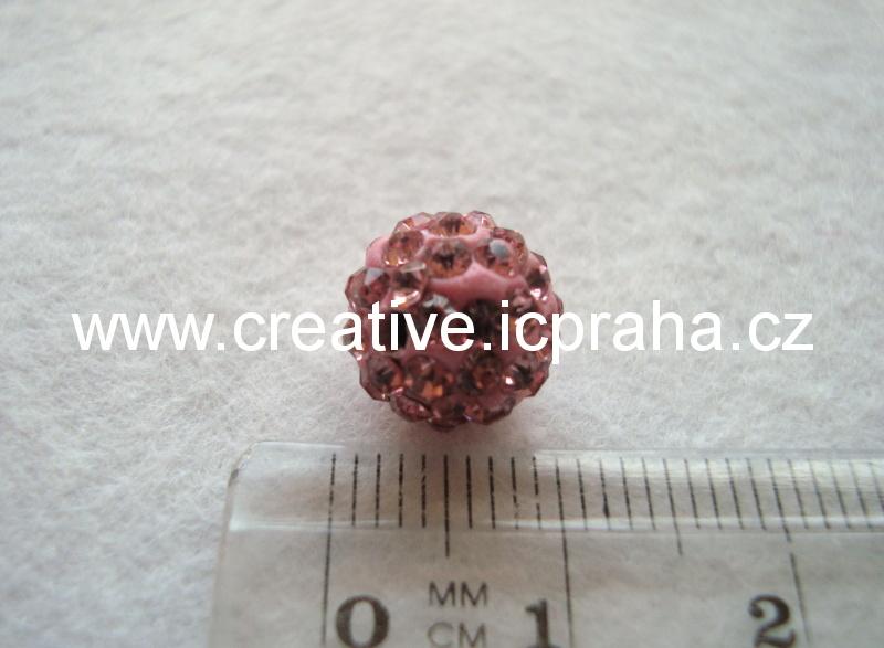 kulička se šatony 10mm - růžová