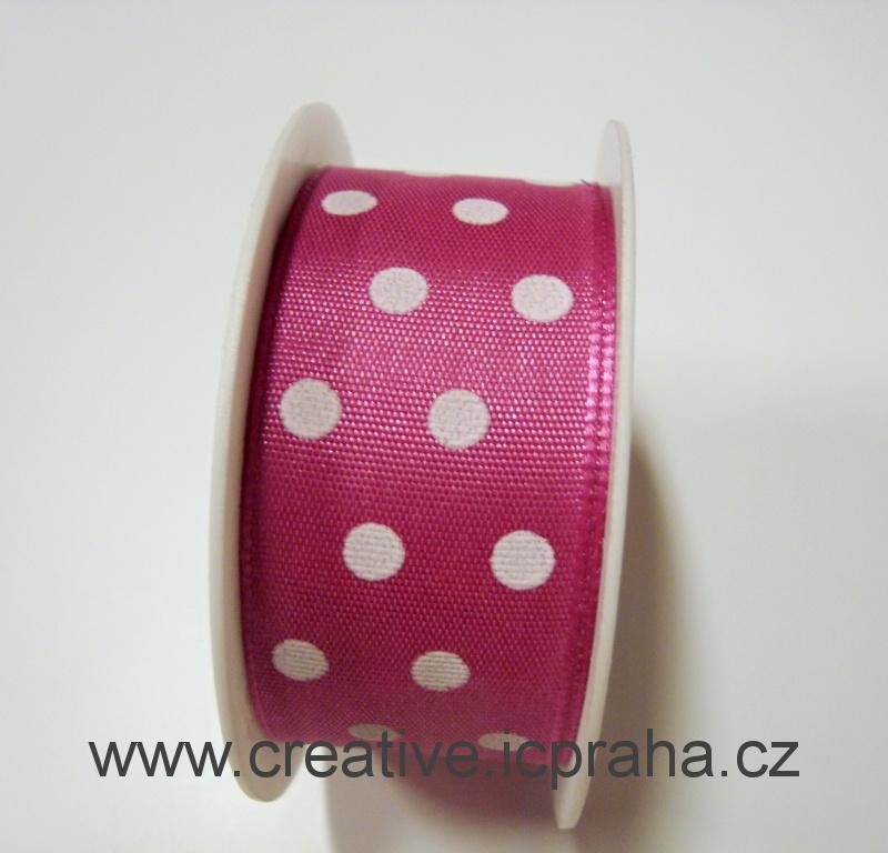 stuha-drátek-puntíky -růžová 25mm/2m