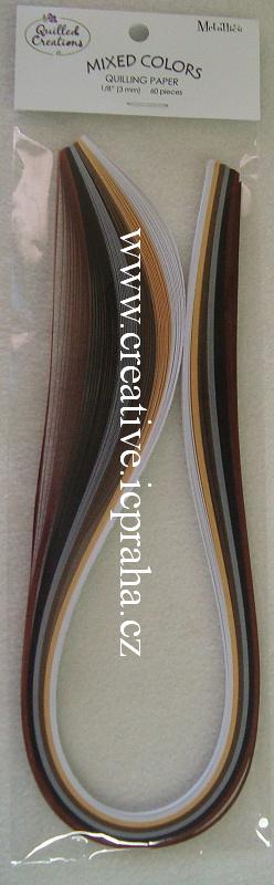 pap.proužky 0.3x44,5cm bal.60ks Mix metalicke