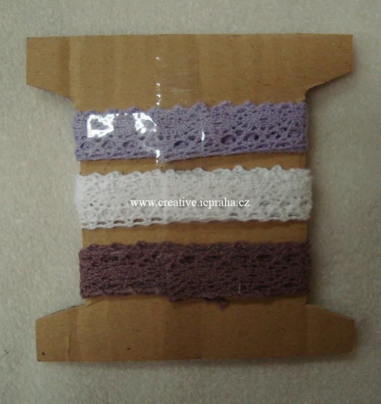 stuha 3 krajky 1,5cm x 70cm - fialová, lila, bílá