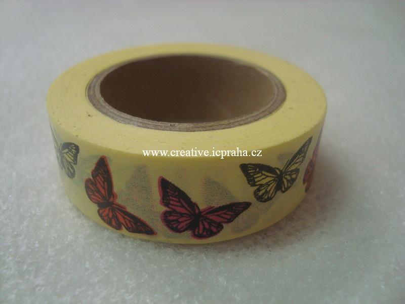 Washi páska - motýli 1,5cmx10m