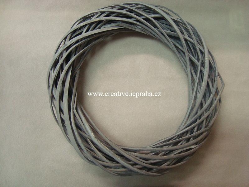 věnec proutí šedý/barvy - 30cm