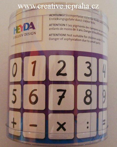 gumová razítka - číslice 15ks+polštářek He