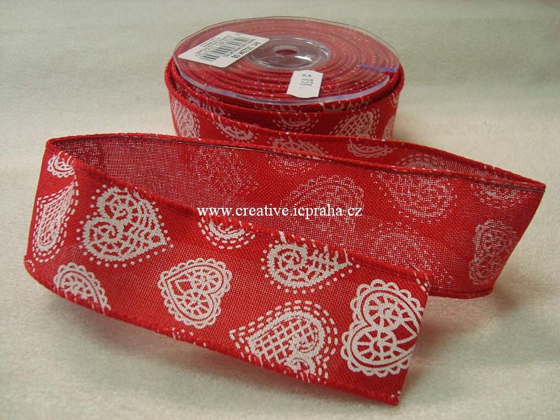 Stuha-drátek bavlna 40mm  červená s bílými srdíčky