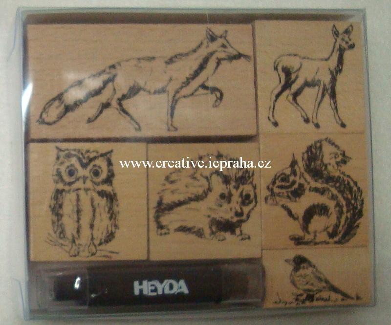 dřevěná razítka - zvířata lesní 6ks He20-4888695