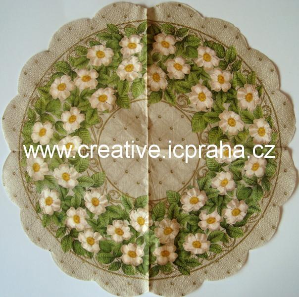 růže šípkové bílé na béžové - kulatý