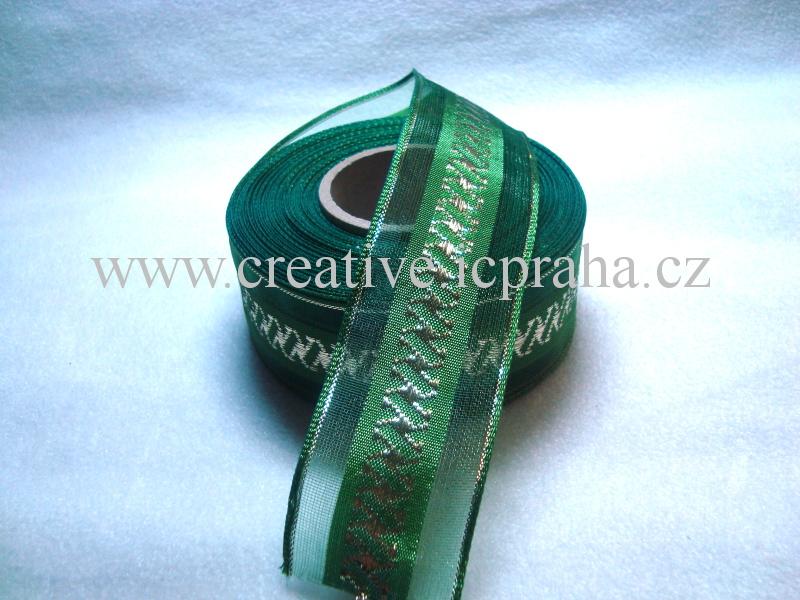 stuha-drátek-zelená +zl.spirálky 40mm