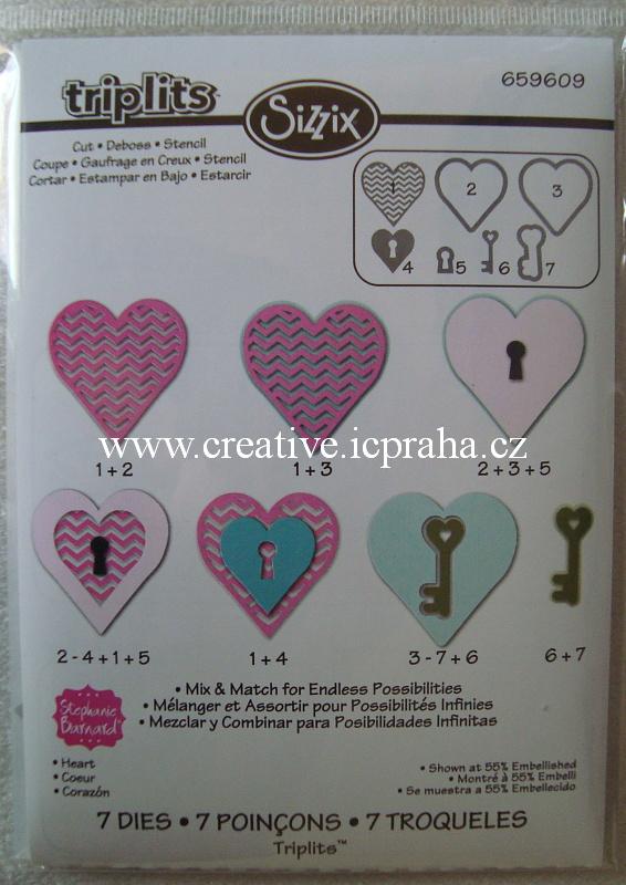 vyřezávací šablona  Triplits srdce+klíč  7 nožů