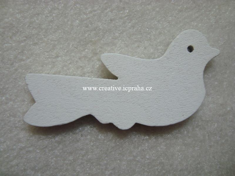 dřevěný ptáček 2,5x6cm bílý