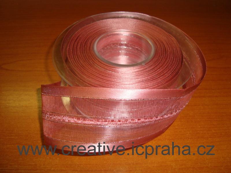 stuha-drátek-růžová 40mm