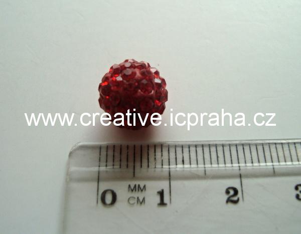 kulička se šatony 10mm - červená sv. 227 BE