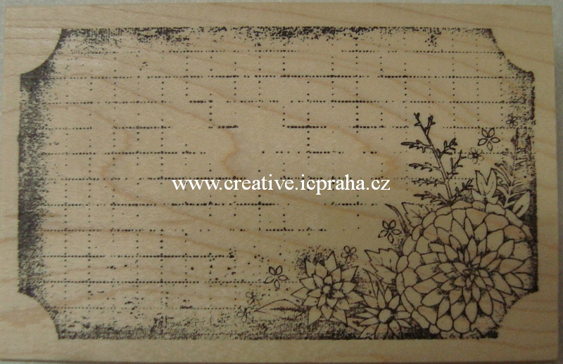 raz. dřevěné - Štítek s květinou 10x6cm SLEVA