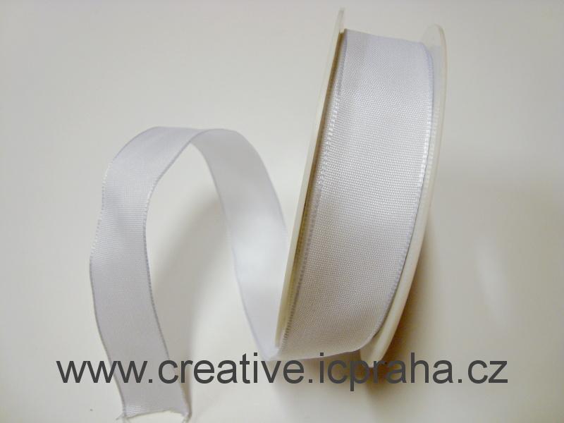 stuha taftová s drátem 25mm bílá