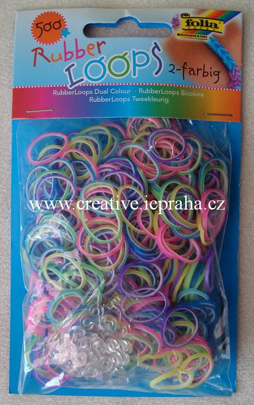 gumičky Loops- 500ks pastel dvoubar. F339529