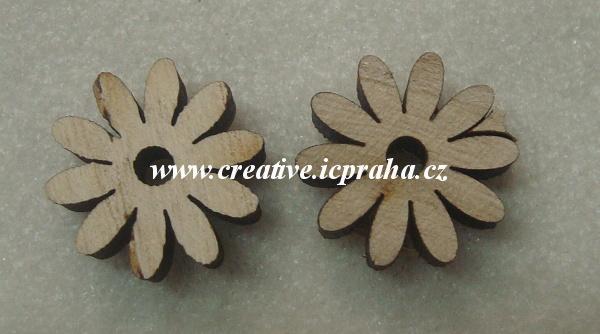 dřevo - kytka Daisy 2,5cm - natur