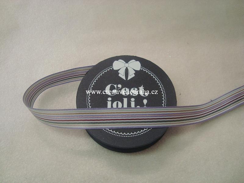 Stuha proužky - fialová 100% PES - 1,5cmx3m