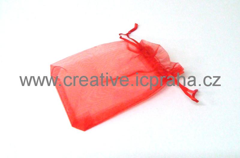 sáček - organza 10x15cm červený