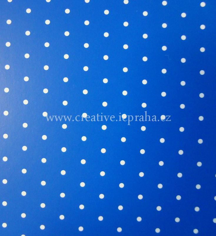 karton 200g/m2 A4 modrý puntíkatý  He