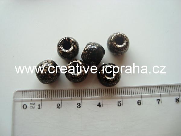 kuličky s velkou dírou 11mm bal.10ks černozlaté
