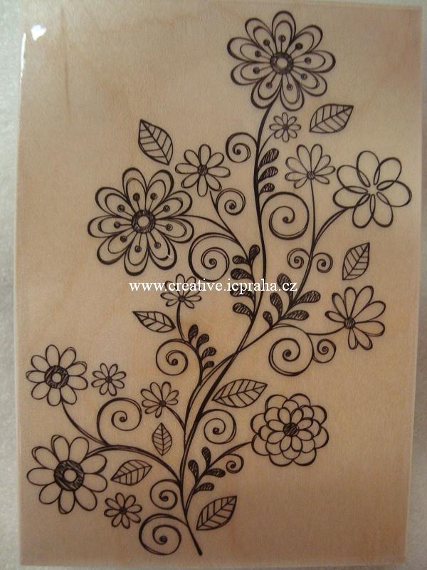 raz. dřevěné Hero Arts - Květinový ornament 10x7cm