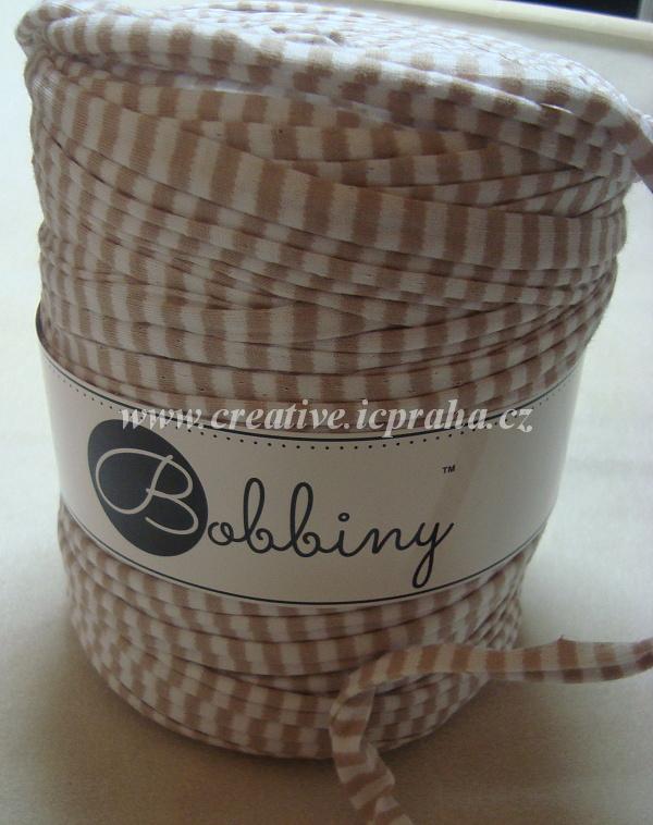 Bobbiny120m - karamel/bílé proužky 3479