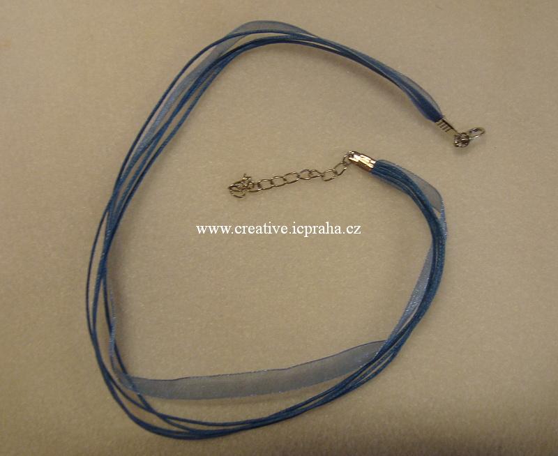 Komplet šňůrka+stužka s karabinkou - modrá