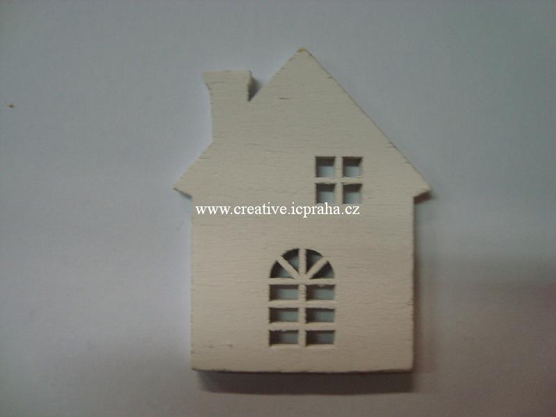 dřevo - domek 7x5.5cm bílý