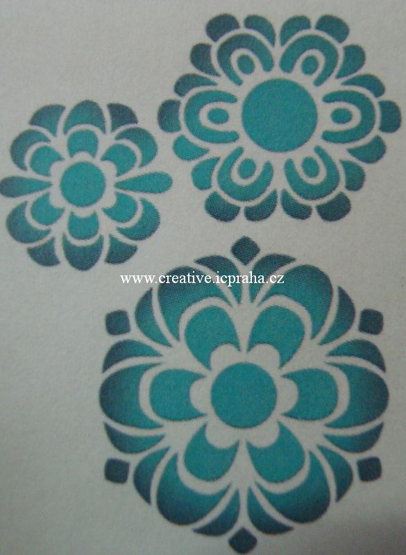 šablona plast STP 3D - Květy 20,7x14,5cm