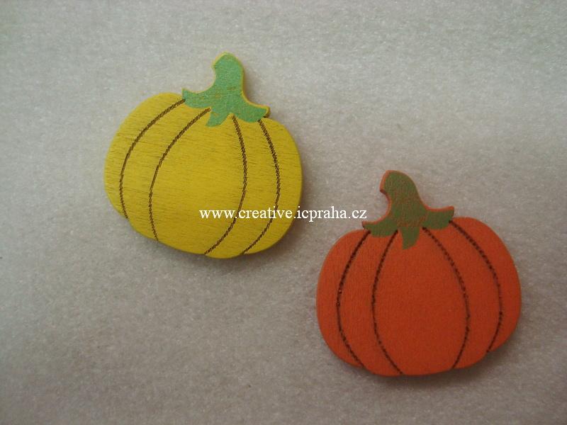 dřevo - dýně 4cm - žlutá/oranž