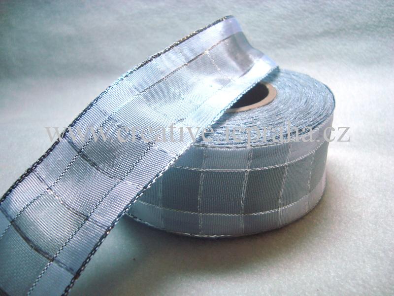 stuha-drátek-kostka 40mm bílá+stříbrná