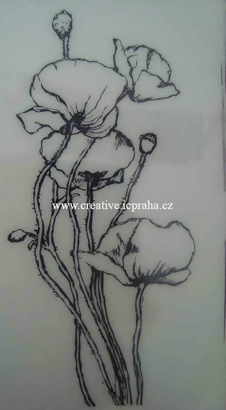 razítka Cling - Bublina květovaná - 6cm 10108