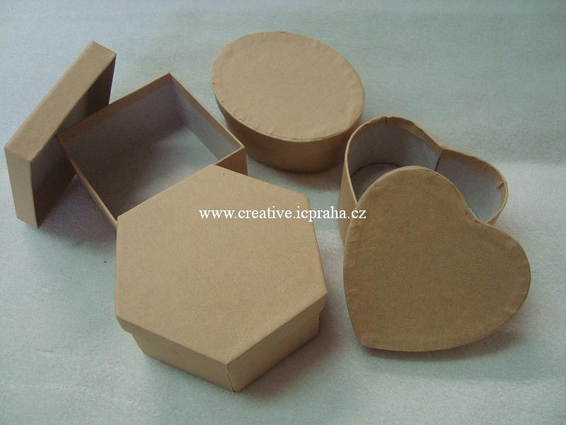 krabička - tvary srdce, ovál, čtverec , šestihran
