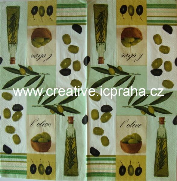 olivy v misce+láhev+větvička  PAPER+DESIGN