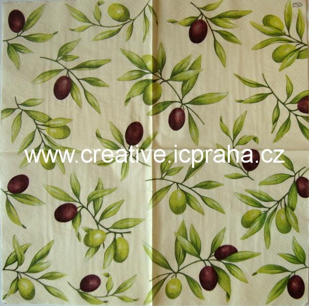 olivové větvičky na krémovém  PAW