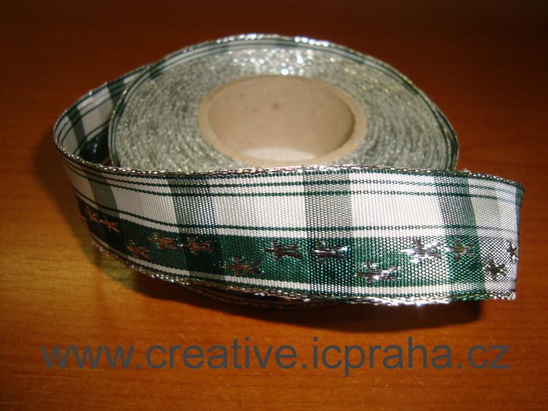 stuha-drátek-vánoční - zelená hvězdičky 25mm