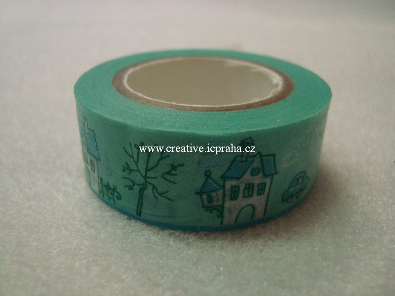 Washi páska - zelená Domečky 1,5cmx8m ALT