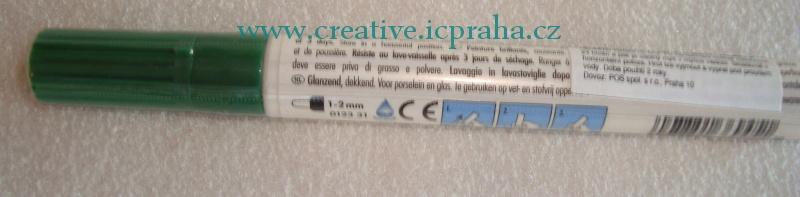 Popisovač na porcelán 1-2mm tm.zelený