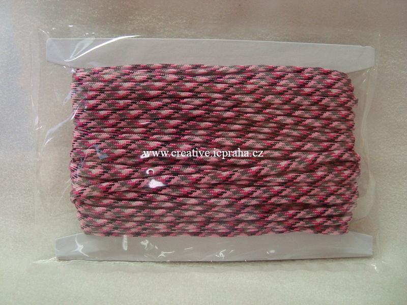 paracord 4mm růžová+černá+šedá 1m