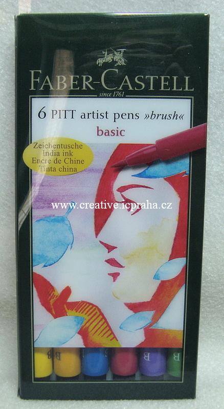 Pitt Artist Pen Brush - popisovač 6ks základní bar